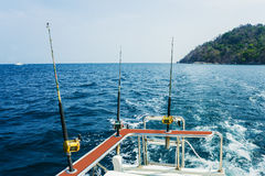 Fishing trolling. With motor boat in the tropical sea Stock Image