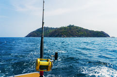 Fishing trolling with motor boat. Fishing trolling  with motor boat in the tropical sea Royalty Free Stock Image