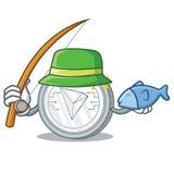 Fishing Tron coin character cartoon. Vector illustration Royalty Free Stock Photo