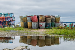 Fishing tubs after a downpour Royalty Free Stock Photos