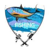 Tuna fishing symbol. Fishing tuna and two fishing rods symbol vector illustration