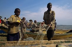 Fishing in Uganda Stock Image