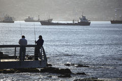 Fishing in Valparaiso Royalty Free Stock Image