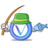 Fishing VeChain coin mascot cartoon. Vector illustration Royalty Free Stock Photography