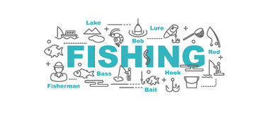 Fishing vector banner. Design concept, flat style with thin line art icons on white background Royalty Free Stock Images