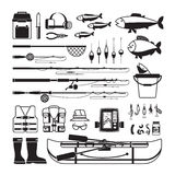 Fishing vector black icons Stock Photo