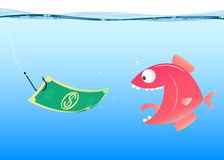 Fishing, vector. Cartoon hook money and fish, vector eps 10 Stock Images