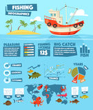 Fishing vector chart and graph infographics. Fishing infographics of vector fish and seafood statistics. Fishery ship or boat industry data graphs, charts and Royalty Free Stock Photography
