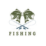 Fishing vector design template Stock Photos