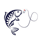 Fishing vector. Fish jumping over a hook, a symbol for fishing Royalty Free Stock Photo