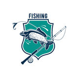 Fishing vector icon with carp fish, rod tackle. Fishing icon or vector isolated emblem badge of carp or salmon tout fish catch, fish-rod tackle of hook and bait Royalty Free Stock Photography