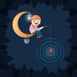 Fishing.Vector illustration. Fisherman on lune.avtorskaya illustration Royalty Free Stock Photo