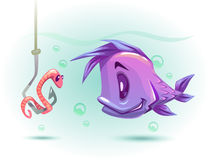 Fishing vector illustration. Underwater vector illustration. Funny cartoon violet fish is looking at the little pink worm on a fishing hook Royalty Free Stock Image