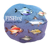 Fishing vector logo design template. fresh fish or Stock Photography