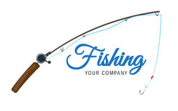 Fishing vector logo design template. Fishing rod fisher, fish or angling, sport icons Stock Photos
