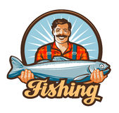 Fishing vector logo. fisherman, fish icon Stock Images