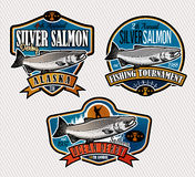 Fishing Vector Logo. Salmon Fish icon. Salmon Fishing emblems, labels and design elements. Vector illustration Stock Photos