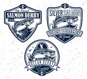 Fishing Vector Logo. Salmon Fish icon. Salmon Fishing emblems, labels and design elements. Vector illustration Stock Photos
