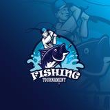 Fishing vector mascot logo design with modern illustration concept style for badge, emblem and tshirt printing. fishing. Illustration for logo stock illustration