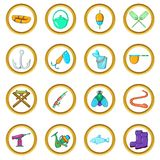 Fishing vector set, cartoon style. Fishing vector set in cartoon style isolated on white background Stock Photos