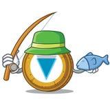 Fishing Verge coin mascot cartoon. Vector illustration Royalty Free Stock Photography