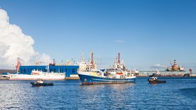 Fishing vessel Ayse. Is pictured arriving in the port of Las Palmas de Gran Canaria, Spain Stock Image