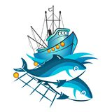 Fishing vessel and fish in networks. Fishing boat and catch fish in nets illustration Royalty Free Stock Photography