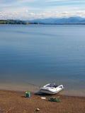 Fishing vessel at Liptovska Mara, Slovakia royalty free stock photos