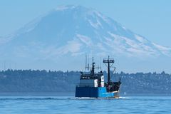Fishing Vessel Misty Blue returns to Seattle. Misty Blue returning from a Salmon tendering trip to South Eaxt Alaska Stock Photos