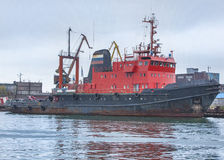 The fishing vessel on a mooring in a bay Royalty Free Stock Photos