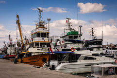 Fishing Vessel On The Port Of Cinarcik Town. Fishing vessels anchored due to the rough weather conditions took place in Cinarcik town the district of Yalova City Stock Photos