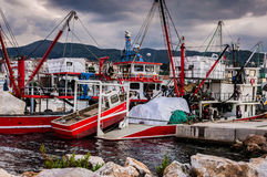 Fishing Vessel On The Port Of Cinarcik Town. Fishing vessels anchored due to the rough weather conditions took place in Cinarcik town the district of Yalova City Stock Image