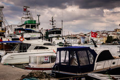 Fishing Vessel On The Port Of Cinarcik Town. Fishing vessels anchored due to the rough weather conditions took place in Cinarcik town the district of Yalova City Royalty Free Stock Images