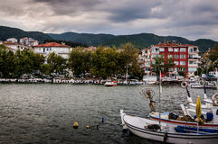 Fishing Vessel On The Port Of Cinarcik Town. Fishing vessels anchored due to the rough weather conditions took place in Cinarcik town the district of Yalova City Royalty Free Stock Image