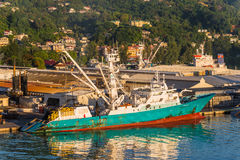 Fishing Vessel in the Port Victoria, Mahe island, Seychelles Stock Image
