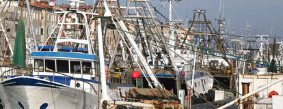Fishing vessel in sea harbor Royalty Free Stock Images