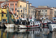 Fishing vessel in the sea near VENICE Stock Photography