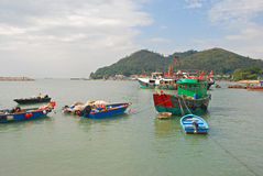Fishing Vessel at Seaside in Tai O Hong Kong Royalty Free Stock Photography