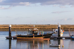 Fishing vessel to dock in Portugal. Royalty Free Stock Image