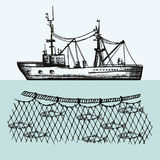 Fishing vessel vector. Fisheries. Fish in the networks hand drawing illustration Stock Photos