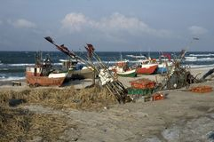 Fishing vessels on beach Royalty Free Stock Image
