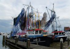 Fishing vessels in the harbor of Volendam,the Netherlands Royalty Free Stock Image