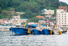 Fishing vessels in Jangseungpo harbour Royalty Free Stock Photography