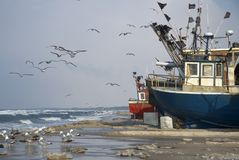 Fishing vessels on beach Stock Image