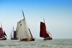 Fishing vessels sailing on the IJsselmeer, Holland Stock Image