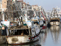 Fishing vessels in sea haven moored in CHIOGGIA Royalty Free Stock Photography