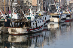 Fishing vessels in sea near VENICE Stock Images