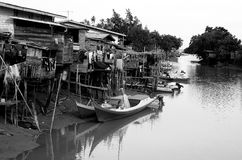 Fishing Village. Black & White Picture of a Fishing Village In Malaysia Stock Photography