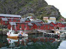 Fishing village. Beautiful fishing harbor in Norway. Stamsund village Stock Photos