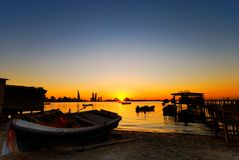 Fishing Village. In Bahrain taken during sunset Stock Photography